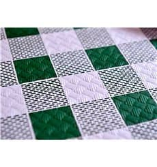 Pre-Cut Paper Tablecloth Green Checkers 37g 1x1m (400 Units)