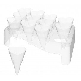 """Plastic Serving Cones with Serving Cone Holder """"Love"""" 50ml 18x26cm (5 Units)"""
