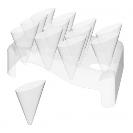 """Plastic Serving Cones with Serving Cone Holder """"Slice"""" 55ml 18x26cm (4 Kits)"""