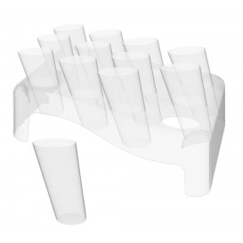 Plastic Serving Cones with Serving Cone Holder Clear 75ml 18x26cm (4 Kits)