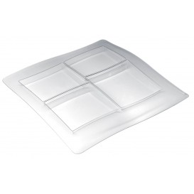 "Plastic Compartment Tray PS ""FoodPoker"" 4C 36x36cm (1 Unit)"