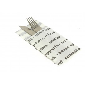 "Pocket Fold Paper Napkins ""Enjoy your meal"" 40x40cm (30 Units)"