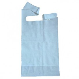 Disposable Adult Bib with Pocket Blue 36x65cm (125 Units)