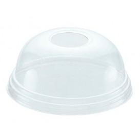 Plastic Dome Lid with Hole PET Crystal Ø8,1cm (100 Units)
