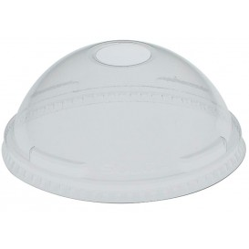 Plastic Dome Lid with Hole PET Crystal Ø10,7cm (25 Units)