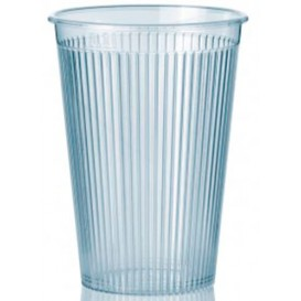 "Plastic PS beker ""Ribbed"" transparant 200 ml (25 eenheden)"