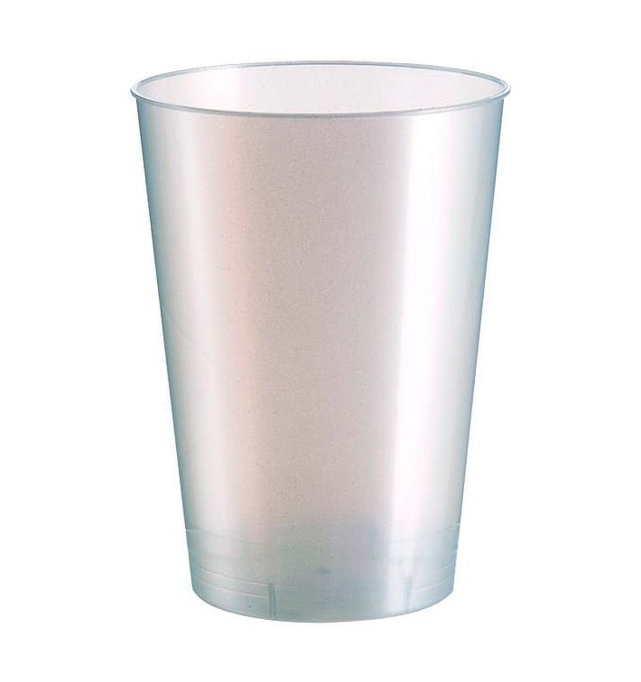 """Plastic Cup PS """"Moon"""" White Pearl 230ml (50 Units)"""
