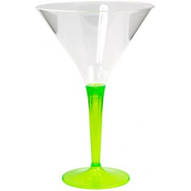Plastic Stemmed Glass Cocktail Green 100 ml (6 Units)