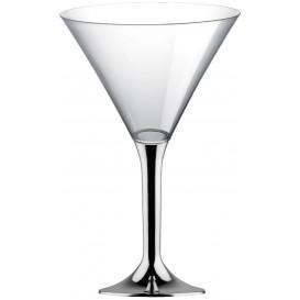 Plastic Stemmed Glass Cocktail Silver Chrome 185ml 2P (40 Units)
