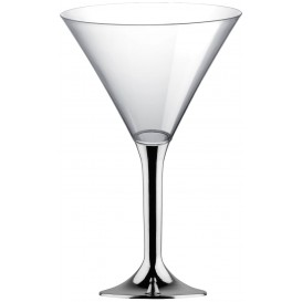 Plastic Stemmed Glass Cocktail Silver Chrome 185ml 2P (200 Units)