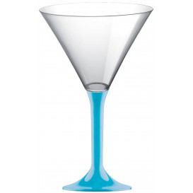 Plastic Stemmed Glass Cocktail Turquoise 185ml 2P (40 Units)