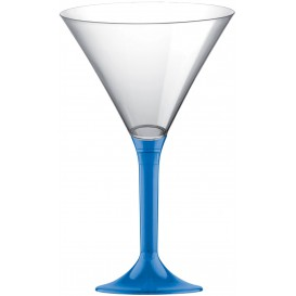 Plastic Stemmed Glass Cocktail Blue Clear 185ml 2P (40 Units)