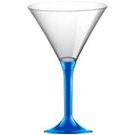 Plastic Stemmed Glass Cocktail Mediterranean Blue 185ml 2P (40 Units)