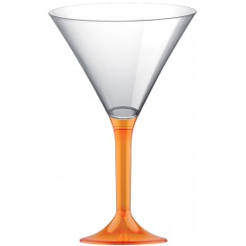 Plastic Stemmed Glass Cocktail Orange Clear 185ml 2P (200 Units)