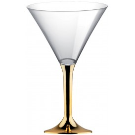 Plastic Stemmed Glass Cocktail Gold Chrome 185ml 2P (40 Units)