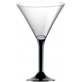 Plastic Stemmed Glass Cocktail Black 185ml 2P (40 Units)