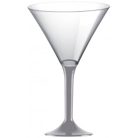 Plastic Stemmed Glass Cocktail Grey 185ml 2P (40 Units)