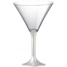 Plastic Stemmed Glass Cocktail White Pearl 185ml 2P (40 Units)