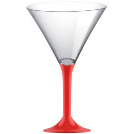 Plastic Stemmed Glass Cocktail Red 185ml 2P (40 Units)