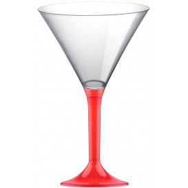 Plastic Stemmed Glass Cocktail Red Clear 185ml 2P (40 Units)
