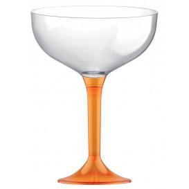 Plastic Stemmed Flute Orange Crystal 200ml 2P (40 Units)