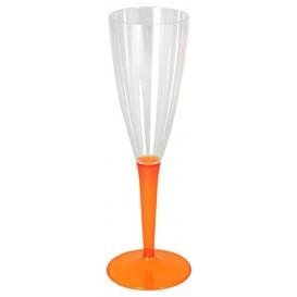 Plastic Stemmed Flute Sparkling Wine Orange 100ml (72 Units)