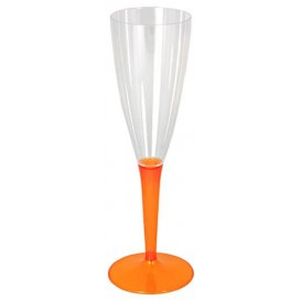Plastic Stemmed Flute Sparkling Wine Orange 100ml (6 Units)
