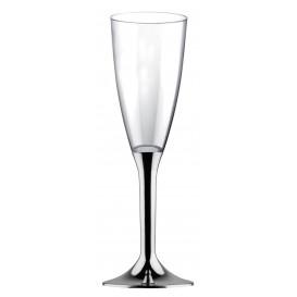 Plastic Stemmed Flute Sparkling Wine Silver Chrome 120ml 2P (200 Units)