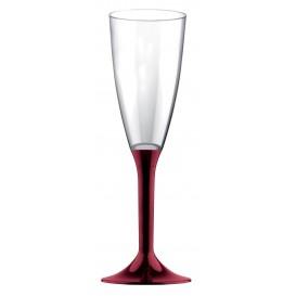 Plastic Stemmed Flute Sparkling Wine Burgundy 120ml 2P (40 Units)