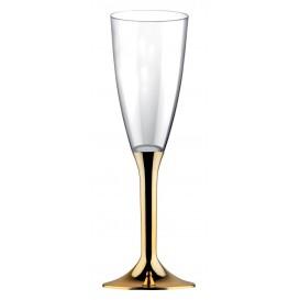 Copa de Plastico Cava con Pie Oro Cromado 120ml (20 Uds)