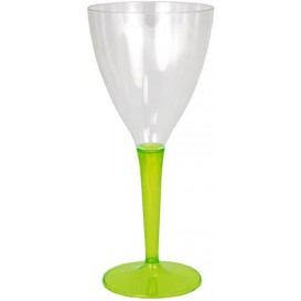 Plastic Stemmed Glass Wine Green 130ml (6 Units)