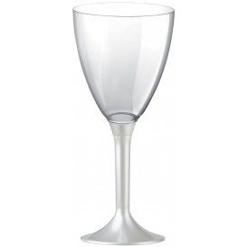 Plastic Stemmed Glass Wine White Pearl Removable Stem 180ml (200 Units)