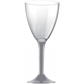 Plastic Stemmed Glass Wine Grey Removable Stem 180ml (40 Units)