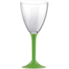 Plastic Stemmed Glass Wine Lime Green Removable Stem 180ml (40 Units)