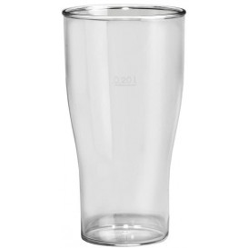 Plastic Pint Glass SAN Reusable Clear 350ml (5 Units)
