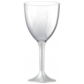 Plastic Stemmed Glass Wine White Pearl Removable Stem 300ml (40 Units)