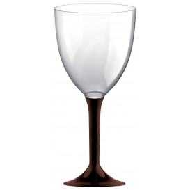 Plastic Stemmed Glass Wine Brown Removable Stem 300ml (40 Units)