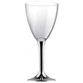Plastic Stemmed Glass Wine Silver Chrome Removable Stem 180ml (200 Units)