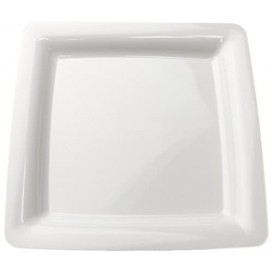 Plastic Plate Square shape Extra Rigid White 22,5x22,5cm (20 Units)