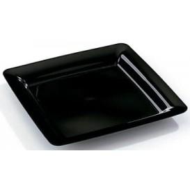Plastic Plate Square shape Extra Rigid Black 18x18cm (200 Units)