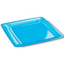 Plastic Plate Square shape Extra Rigid Turquoise 22,5x22,5cm (6 Units)