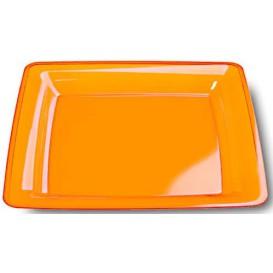 Plato Plastico Cuadrado Extra Rigido Naranja 22,5x22,5cm (72 Uds)