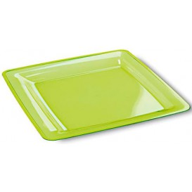 Plastic Plate Square shape Extra Rigid Green 22,5x22,5cm (72 Units)