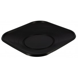 "Plastic Plate PP ""X-Table"" Square shape Black 18 cm (120 Units)"