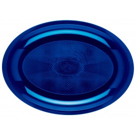 "Plastic Platter Microwavable Oval Shape Blue ""Round"" 31,5x22 cm (25 Units)"