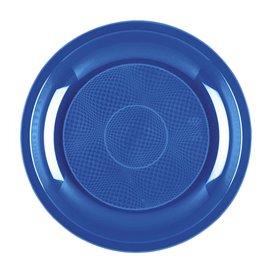 """Plastic Plate Dessert Mediterranean Blue """"Round"""" PP Ø18,5 cm (600 Units)"""