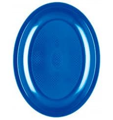 "Plastic Platter Oval Shape Mediterranean Blue ""Round"" PP 25,5 cm (600 Units)"