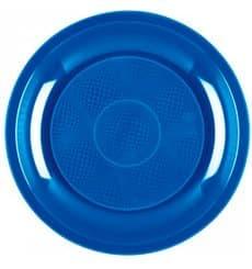 "Plastic Plate Flat Mediterranean Blue ""Round"" PP Ø22 cm (50 Units)"
