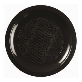 "Plastic Plate Flat Black ""Round"" PP Ø18,5 cm (50 Units)"