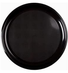 "Plastic Plate for Pizza Black ""Round"" PP Ø35 cm (12 Units)"